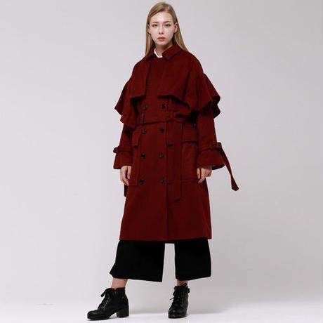 (注文製作) WunderGeist handkerchief sleeve wool トレンチコート (Burgundy)