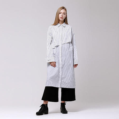 (注文製作) WunderGeist overfit layered long blouse (Stripe)