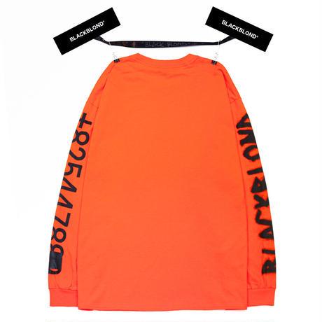 『BLACKBLOND』  グラフィティーナンバーロゴロングスリーブ Tシャツ (Orange)