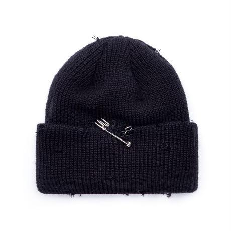 『BLACKBLOND』    リップトカスタムロングニット帽 (Black)