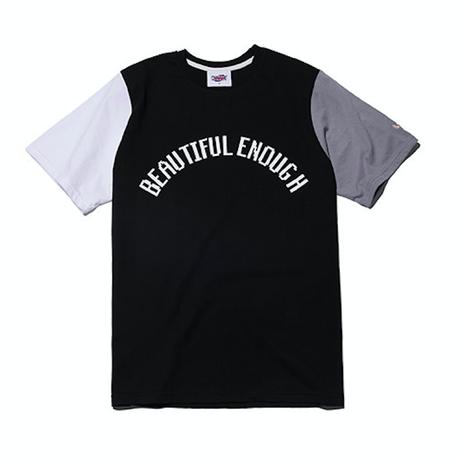 『Motivestreet』 カラーブロック半袖  Tシャツ (BlackGray)