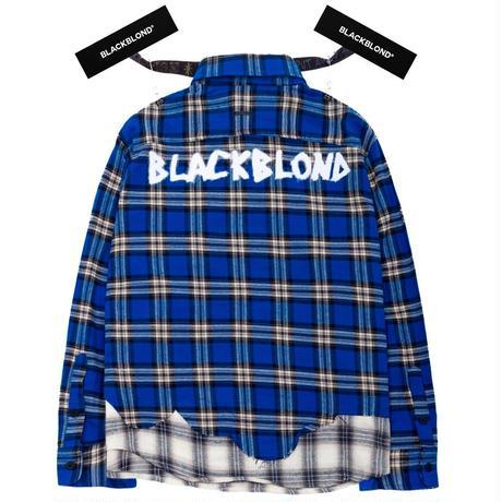 『BLACKBLOND』 グラフィティロゴレイヤードチェックシャツ (Blue)