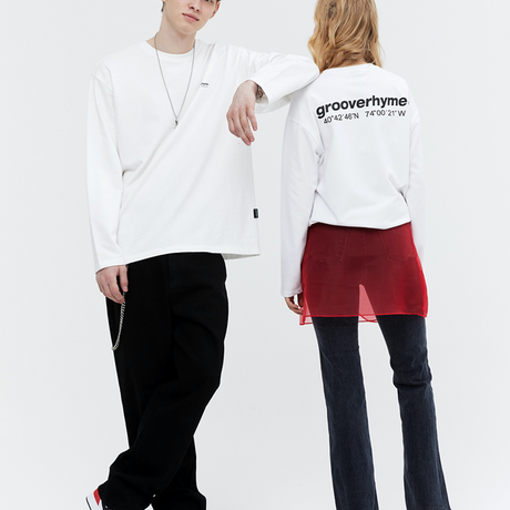 『grooverhyme』  NYC ロケーションロングスリーブ Tシャツ (White)