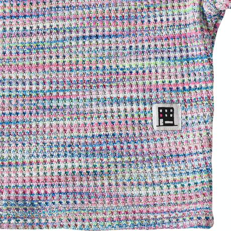 『FREAKISH BUILDING』  マルチカラーワッフルショートスリーブクロップ Tシャツ (Pink)