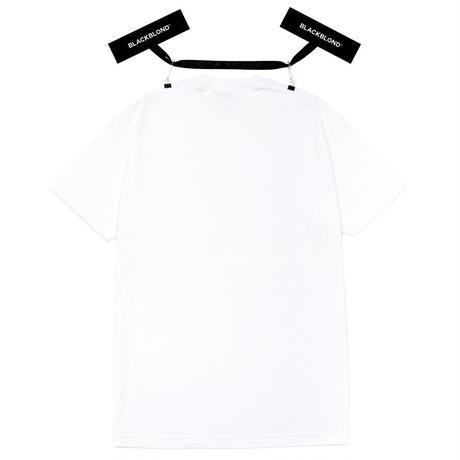 『BLACKBLOND』 オリジナルボーダーロゴショートスリーブTシャツ (White)