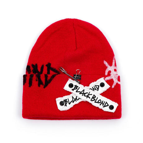 Blackblond Graffiti Logo Patch Beanie (Black, Red )