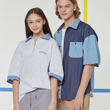『Motivestreet』 アイデアルマップデニムミックスシャツ (Blue)