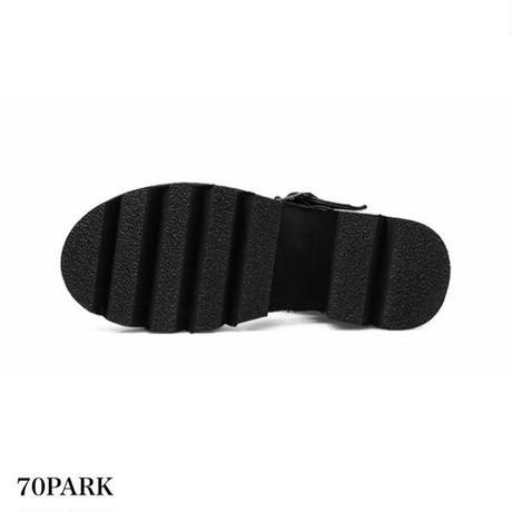 #Triple Buckle Strap Sandal  三連ベルト シャークソール 厚底  サンダル  ブラック