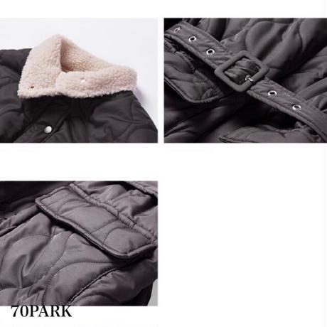 #High Neck Padded Jacket 内側ボア ベルト付き 中綿ジャケット ダークブラウン