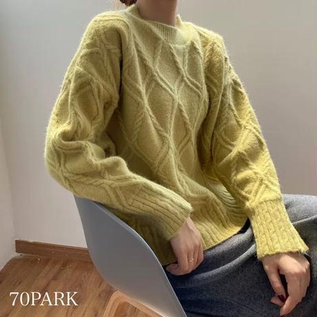 #クルーネック ツイスト ケーブル編み ニット 全5色 セーター