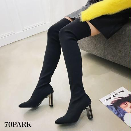 #Thigh High  Sock Boots メタリック 変形ヒール ソックス ニーハイ ブーツ 黒 サイハイ