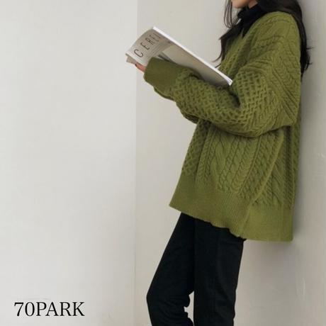 #Vネック ケーブル編み ルーズ ニット 全3色 セーター