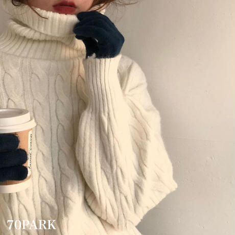 # Turtleneck Cable Knit Sweater タートルネック ケーブル編み ニット セーター 全4色