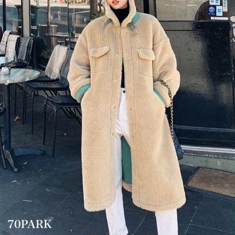 #Boa Long Coat アクセントカラー ボア ロング コート 全2色