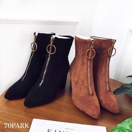#Front Zip Ankle Socks Boots   フロントジップ アンクル ソックブーツ 全2色 ソックスブーツ