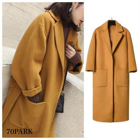 #Tailored Collar Wrap Coat  テーラードカラー ロング ガウンコート 全2色 ロングコート ラップコート