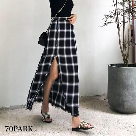 #High Waist Slit Plaid Long Skirt チェック柄 ハイスリット ロングスカート ブラック