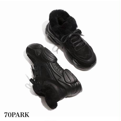 #Fur-Lined Dad Sneakers  内側ファー ボリューム ダッドスニーカー 全3色 厚底
