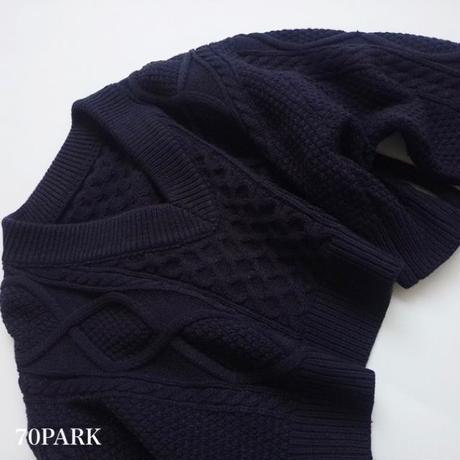 #Open Back Cable Knit Sweater  背中開き リボン Vネック ケーブル ニット 全2色