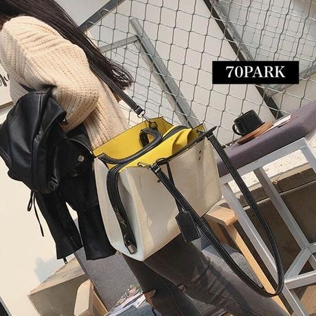 #2way Bicolor Tote  Bag スクエア型 大容量 バイカラー ハンドバック 全2色