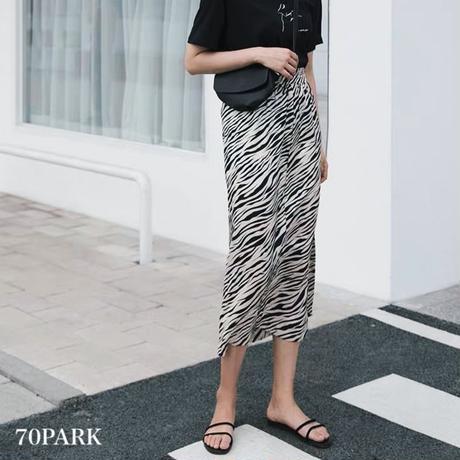 #Zebra Print Midi Skirt ゼブラ柄 プリント スリット入り ミディ丈 スカート