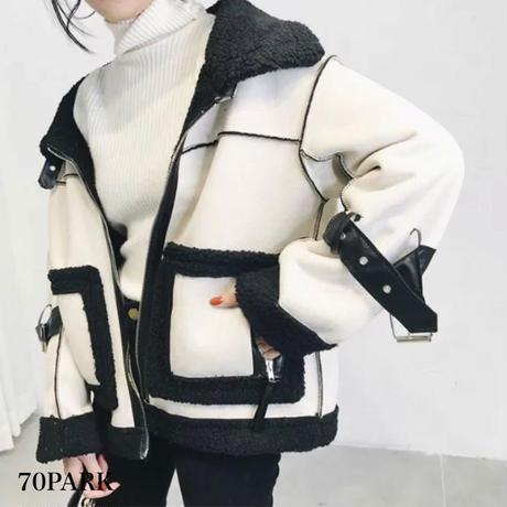#Black And White Boa Mustang Jacket モノトーン ボア ムスタン ジャケット
