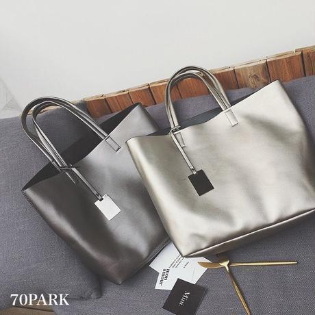 #Metallic Color Tote Bag ポーチ付き メタリック トートバッグ  全3色 大容量 A4