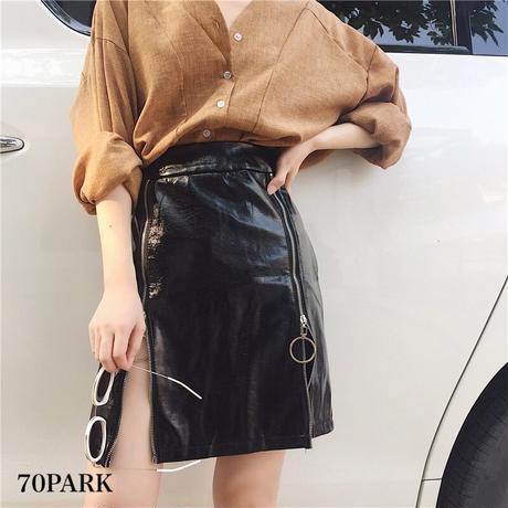 #Double Zip Mini Skirt ダブル フロント ジップ PUレザー ミニ スカート ブラック