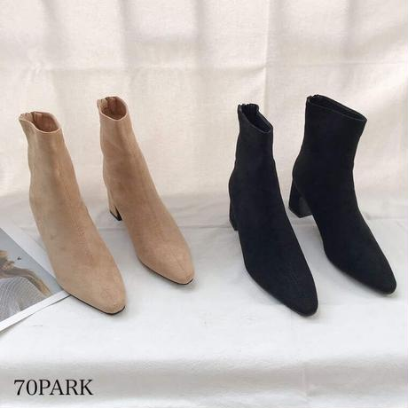 #スエード調 バックジップ 太ヒール ショート ブーツ 全3色