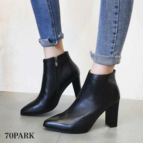 #Black Ankle Boots High heel 太ヒール シンプル 美脚 アンクルブーツ 黒 ポインテッドトゥ