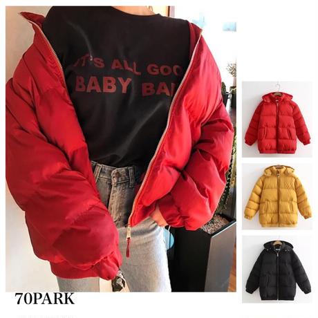 #Hoodie Padding Jacket フード付 カラー 中綿 ジャケット 全3色 ダウンジャケット