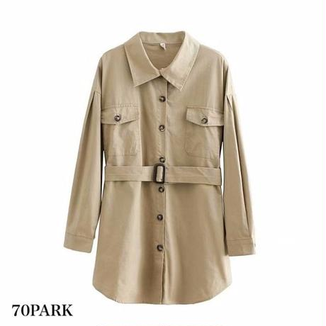 #Belted Long Sleeve Blouse  ロング ベルト付き ルーズフィット 長袖 シャツ 全3色