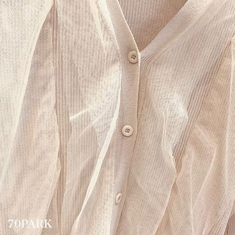 #Tulle Ruffle Knit Cardigan  チュール フリル リブ ニット カーディガン 全3色