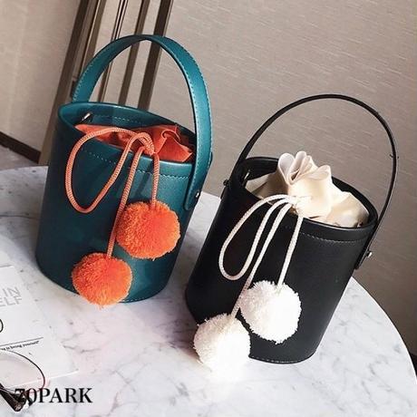 #2way Pom Pom Bucket Bag   ポンポン付 バケツバッグ  全3色 ショルダーバッグ