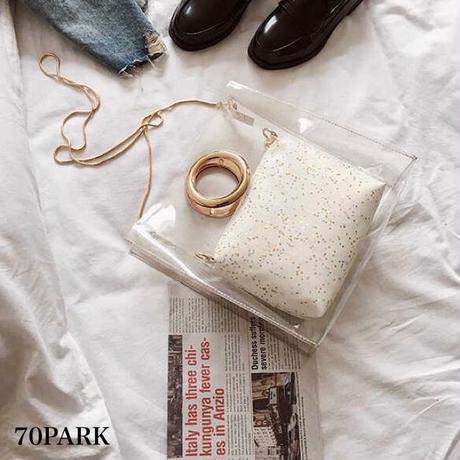 # PVC Ring Handle Tote Bag リング ハンドル PVC トートバッグ 全2色 ポーチ付き