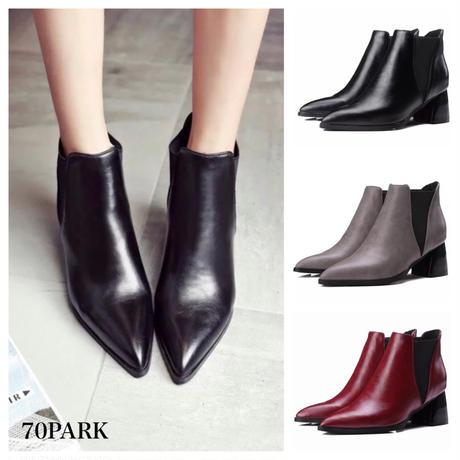 # Pointed Toe Side Gore Boots   ヴィンテージ風 ポインテッドトゥ サイドゴア ブーツ 全3色