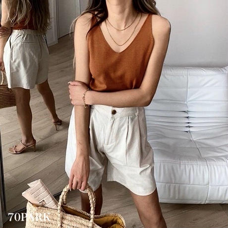 #V-neck Knit Cami Top 両Vネック ニット キャミソール トップス 全6色