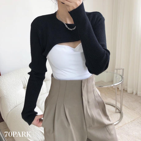 #Ribbed  Long Sleeve Super Crop Top リブ 長袖 スーパー クロップトップ ニット 全2色