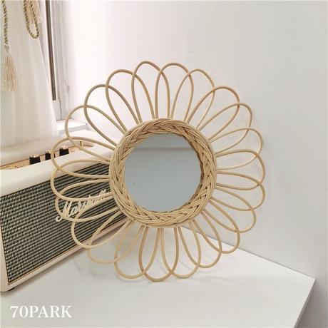 #Rattan Sunflower Mirror フラワー & 太陽 モチーフ ラタン ミラー 全2タイプ 鏡