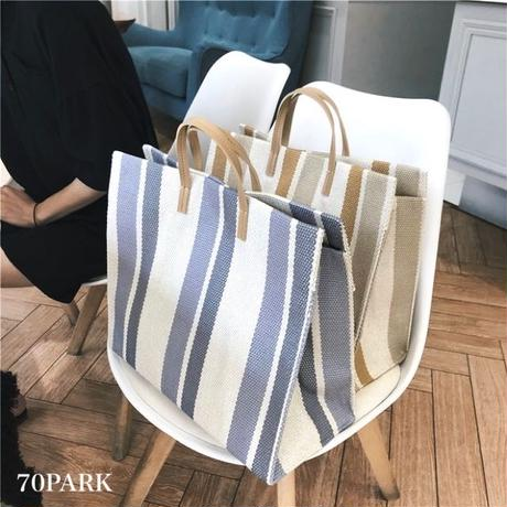 #Border Canvas Tote bag ストライプ柄 キャンバス A4 トートバッグ 全3色  リゾート