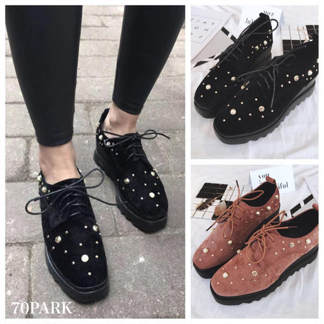 #Pearl Studs  Platform Shoes パール スタッズ レースアップ 厚底 シューズ 全2色