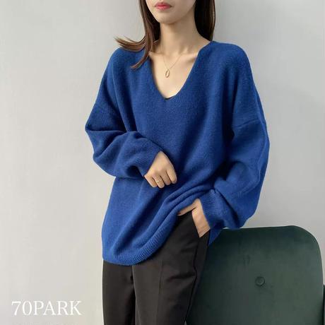 #Vネック シンプル ルーズ ニット 全5色 セーター