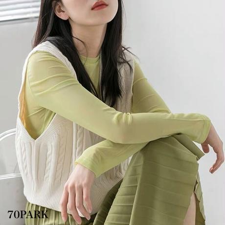 #Long Sleeve Sheer Tops  クルーネック カラー シアー 長袖 トップス 全6色