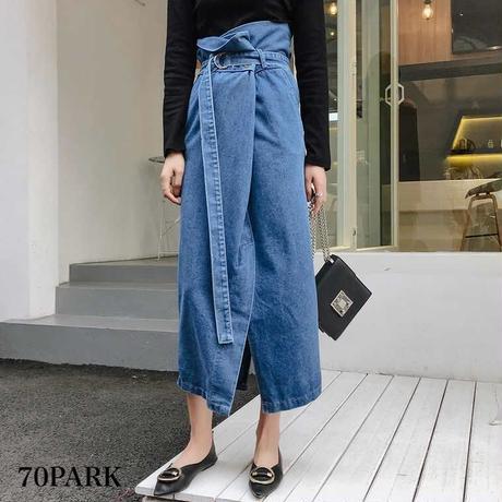 #High Waisted  Long Denim Skirt ベルト付き ハイウエスト ロング デニム スカート ラップ