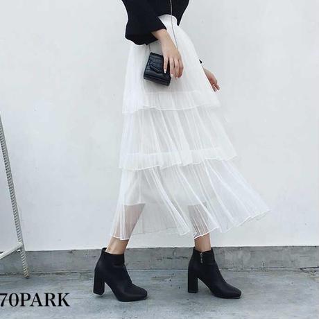 # Long Tulle Skirt  三段 チュール ロング フレア スカート 全5色
