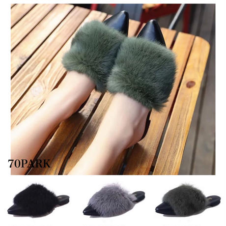 #Volume Fur  Mules ボリューム ファーポインテッドトゥ スリッパ   全3色 ミュール サンダル