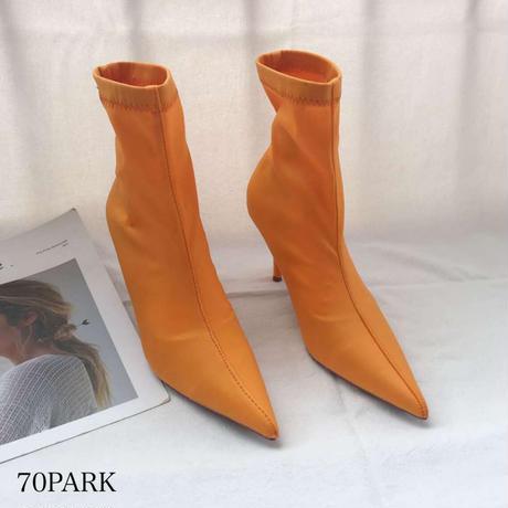 #ストレッチ ポインテッドトゥ 細ヒール ショート ブーツ 全3色