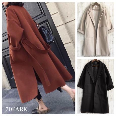 #Side Slit Long Coat ベルト付  サイド スリット ロング コート 全3色 ガウンコート