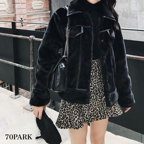 #Leather Trim Faux Fur Jacket  レザー パイピング エコファー ジャケット ブラック