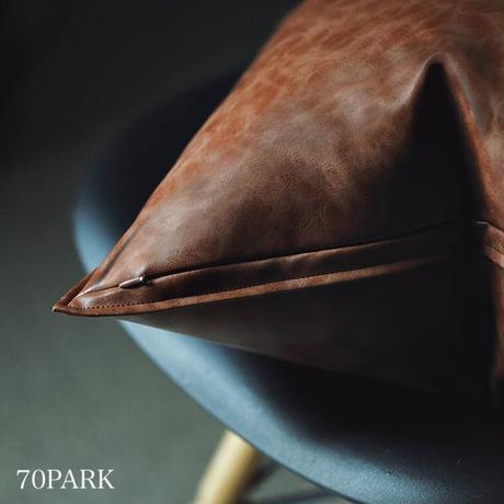 #ヴィンテージ調 フェイクレザー クッションカバー 全3色